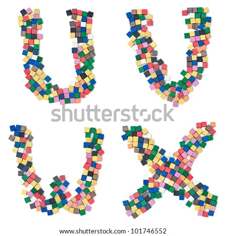 UVWX children alphabet and numbers build with wooden blocks complete Font available