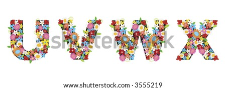 UVWX spring flowers ALPHABETS (raster) - illustrated font / part of a full set