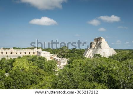 Uxmal archeological site, mayan ruins in yucatan, mexico - stock photo