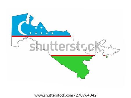 uzbekistan country flag map shape national symbol - stock photo