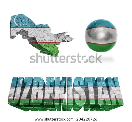 Uzbekistan flag and map in different styles in different textures - stock photo