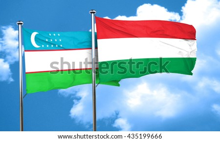 Uzbekistan flag with Hungary flag, 3D rendering