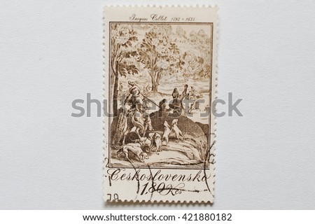 UZHGOROD, UKRAINE - CIRCA MAY, 2016: A post stamp printed in Czechoslovakia shows The Large Hunt, paint work of Jacques Callot, baroque printmaker and draftsman from the Duchy of Lorraine, circa 1979 - stock photo