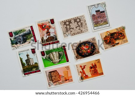 UZHGOROD, UKRAINE - CIRCA MAY, 2016: Collection of postage stamps printed in  USSR shows the masterpieces of ancient russian culture, circa 1978-1979 - stock photo