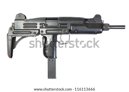 UZI submachine gun isolated on white - stock photo