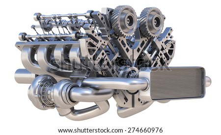 V8 bi turbocharger engine isolated on white background. High resolution 3d - stock photo