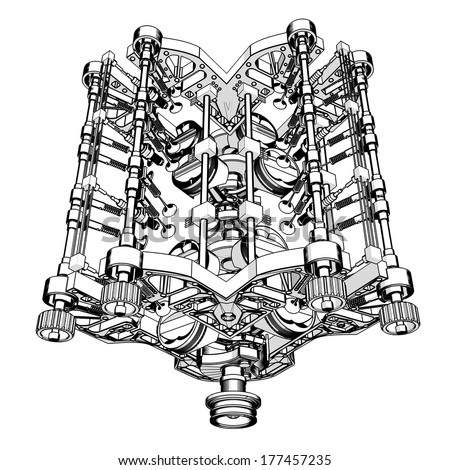Front View Of A V8 Engine Diagram