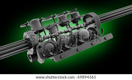 V8 engine 3D isolated on green 3d render