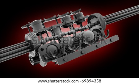 V8 engine 3D isolated on red 3d render