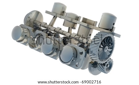 V8 engine 3D isolated on white 3d render