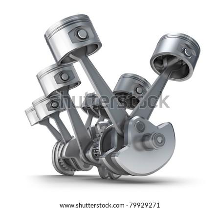 V8 engine pistons. 3D image. - stock photo