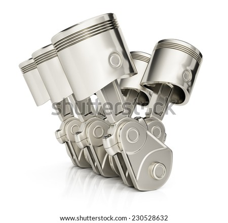 V6 engine pistons isolated on white background. 3d render - stock photo