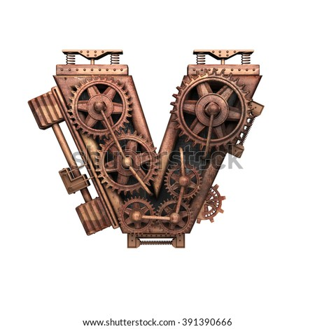 v isolated rusted letter with gears on white