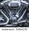 V-Twin motorcycle motor, chrome-plated and polished - stock photo