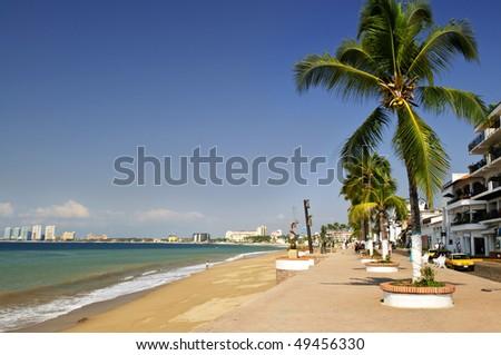 Vacation at Puerto Vallarta beach on Pacific coast of Mexico - stock photo