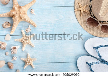 Vacation background with beach accessories - stock photo