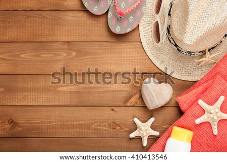 Vacation background with beach accessories, top view - stock photo