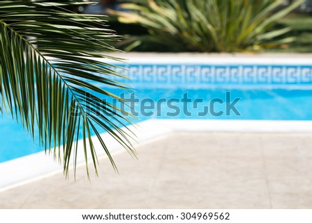 Vacation background with swimming pool and palm leaf - stock photo