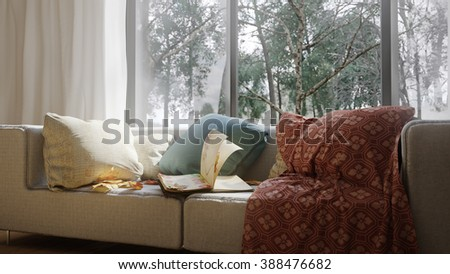 vacation concept background with interior elements and open book