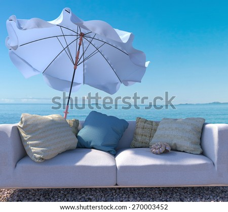 vacation concept background with interior elements and seashell - stock photo