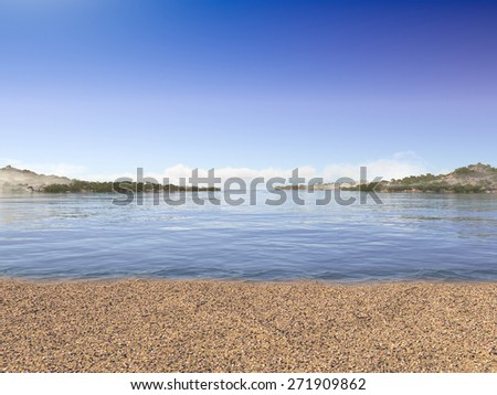 vacation concept background with sea beach and seashells - stock photo
