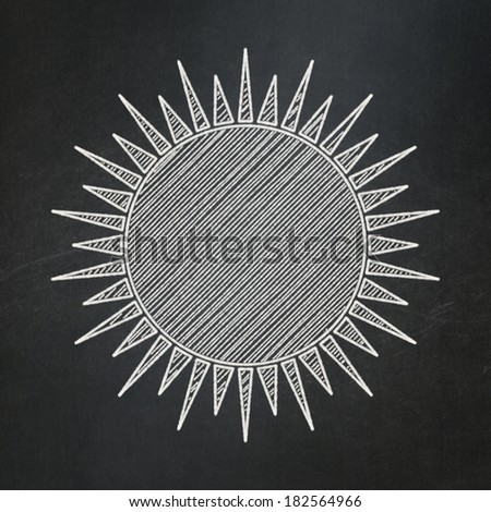 Vacation concept: Sun icon on Black chalkboard background, 3d render - stock photo