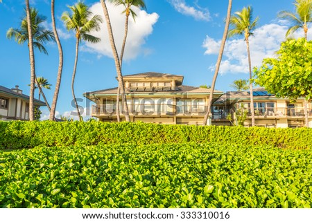 Vacation cottages on the beach with palms, Maui, Hawaii. - stock photo