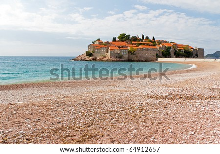 Vacation Destination of Sveti Stefan Outside of Budva in the Coastal Balkan Country of Montenegro - stock photo