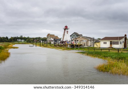 Vacation Homes in a Seaside Village in Canada on a Rainy Day