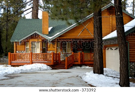 Vacation house in the mountains. Big Bear Lake, CA. - stock photo