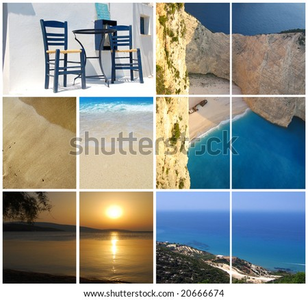 Vacation in Greece collage - stock photo