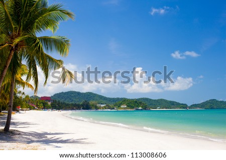 vacation on a seashore of perfect tropical island - stock photo