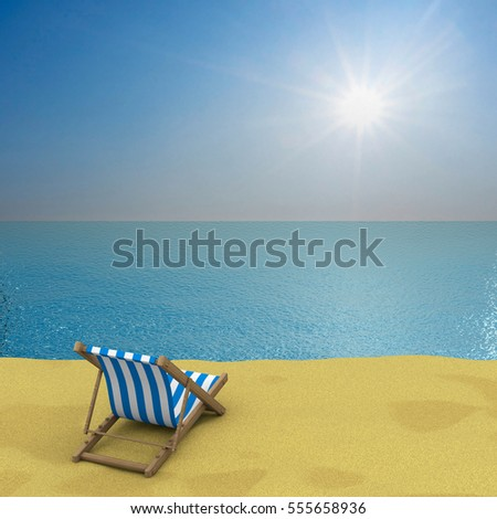 Vacation on the seashore. 3D image.