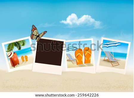 Vacation photos on a beach.  - stock photo
