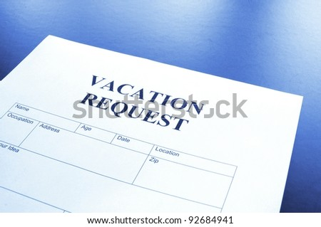 Vacation Request Form Business Office Showing Stock Photo