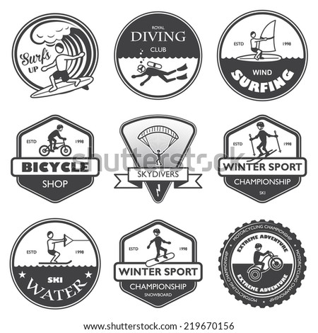 Vacation travel extreme sports labels set of rafting cross country climbing and snowboard  illustration - stock photo