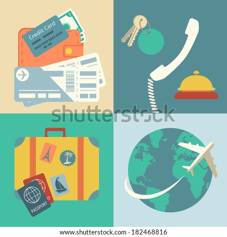 Vacation travel infographics icons set with hands of ticket purchase hotel booking and flight  illustration - stock photo