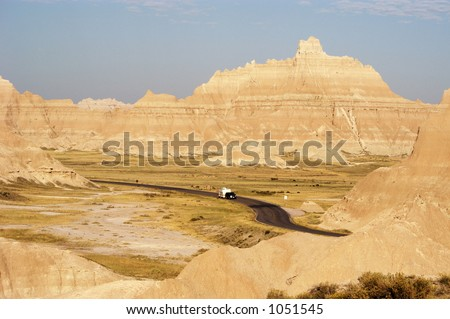 Vacationing in a recreational vehicle in the Badlands National Park. - stock photo