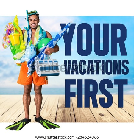 Vacations, first, Humor. - stock photo