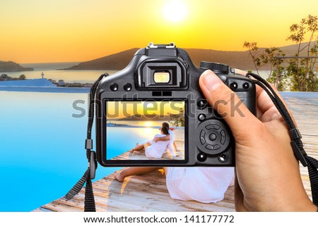 Vacations in Greece with the camera - stock photo