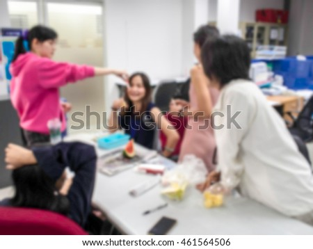 Vaccination against flu To employees. Injection by nurses. Abstract blur.