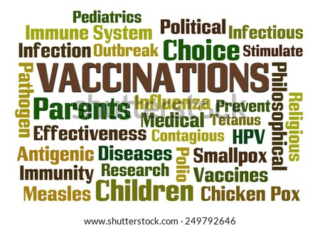 Vaccinations word cloud on white background - stock photo
