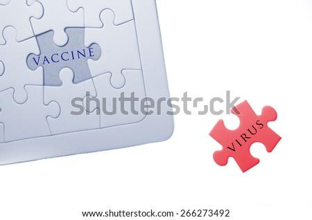 vaccine, virus word write on puzzle, jigsaw - stock photo