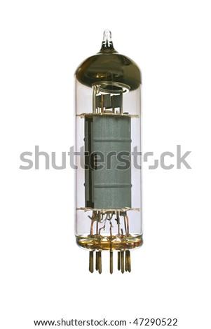 Vacuum electronic radio tube. Isolated image on white background - stock photo