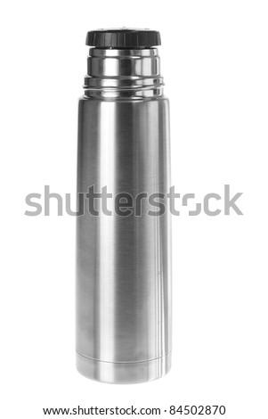 Vacuum Flask on White background - stock photo