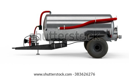 Vacuum Manure Spreader isolated on white background - stock photo
