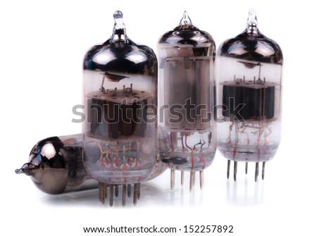 Vacuum radio tubes. Close-up. Isolated on white background. - stock photo