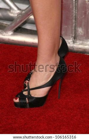 Vail Bloom's shoes  at the Los Angeles Premiere of 'Seven Pounds'. Mann Village Theatre, Westwood, CA. 12-16-08