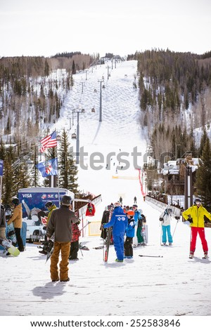 VAIL, USA, FEBRUARY, 13th 2015: SkIers and lift during ski season in Vail, Colorado