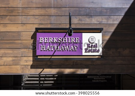Vail, USA - September 10,2015: A Berkshire Hathaway real estate sign in Vail, Colorado